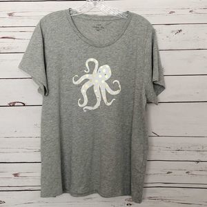 J Crew Gray Octopus Collector Tee Gold Polka Dots